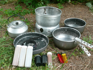 Picture of Trangia stove and all the pots & pans spread out