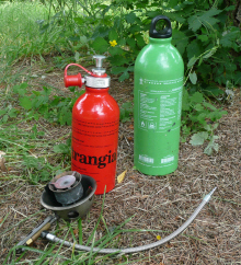 Picture of Trangia multi-fuel burner with 2 fuel bottles