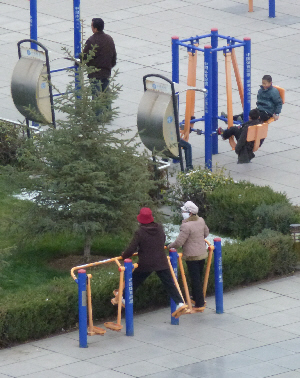 Older ladies keeping fit in Zhangye town square