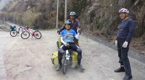 Some Chinese cyclists who stopped for a chat on the way to Shimian.