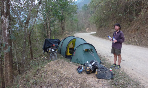 Not our most discreet campsite....but thankfully there wasn't too much traffic overnight.