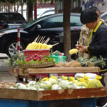 Pineapple-on-a-stick in Kunming