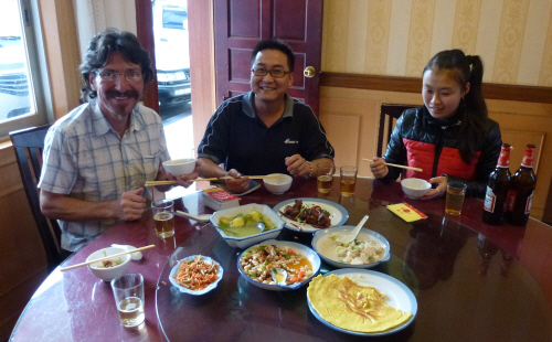 Dinner with Chen Xuechao and his assistant.