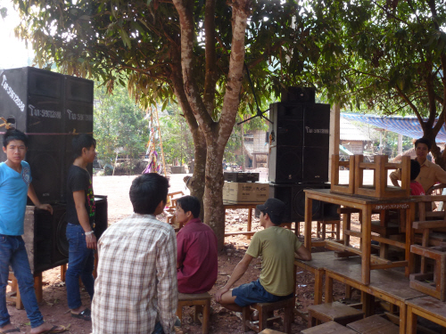 Despite only having had electricity for the last three years the villagers are using it to good effect for their New Year celebrations with these massive speakers blasting out on the high street.