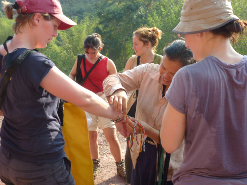 At the end of the walk the villagers gave us friendship bracelets and little woven shoulder-bags.