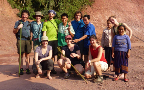 The International Trekking and Kayaking group.  L-R Back row: Northern Ireland, England, United States, Laos, Belgium, Laos, Laos, Russia.  L-R Front row: Switzerland, France, Chile, Laos.