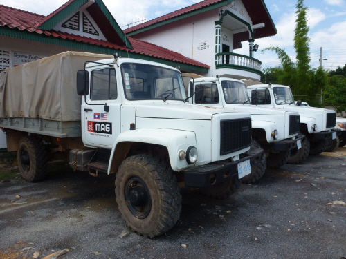 MAG trucks ready for action in Phonsavan