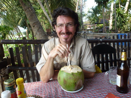 Keith at our favourite restaurant in Luang Prabang.
