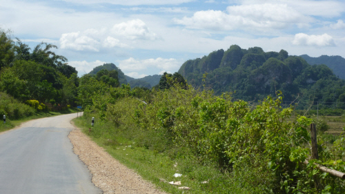 The beautiful approach road to Vieng Xai from Sam Neua