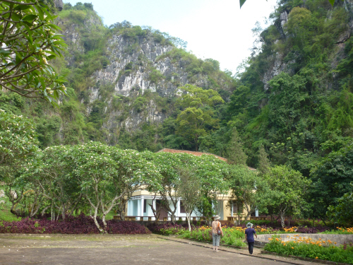 Frangipani trees outside one of the Pathet Lao leaders' houses in Vieng Xai