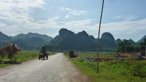 Rice paddies and karst scenery