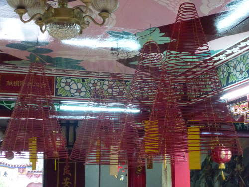 Huge incense cones hanging from the ceiling in the Fukien Assembly Hall.