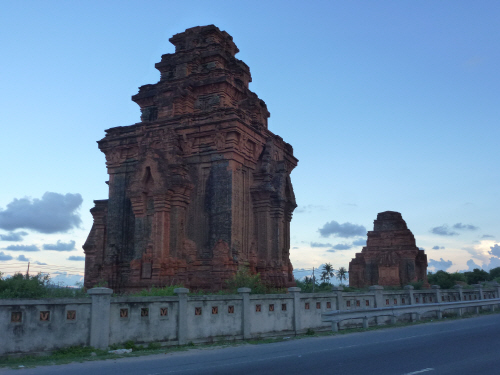 Cham temples at dusk - an unexpected treat in an otherwise non-descript little town.