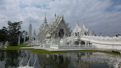 The utterly exquisite and deeply weird White Temple near Chiang Rai.