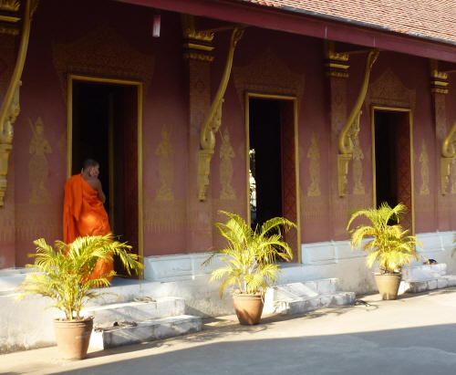 A contemplative moment at one of Luang Prabang's many Wats.