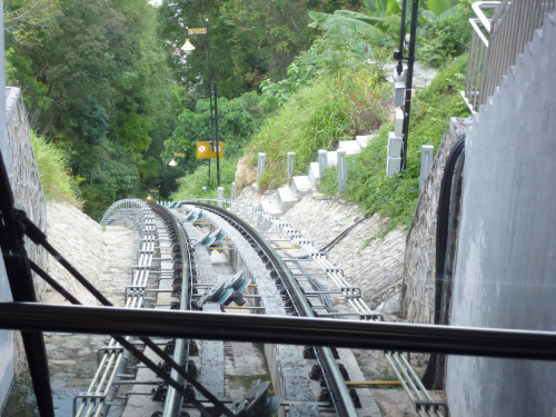The vertiginous funicular ride down from Penang Hill.