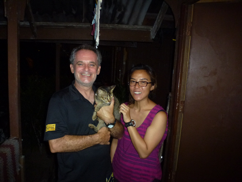 Our neighbours, dive instructors Wendy and Steve, with Noisy, their cat.