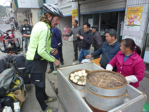 Some roadside steamed dumplings to keep us going - lovely