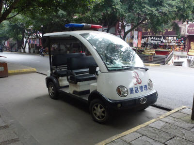 Typical Chinese city centre Police car, or is it a golf cart?