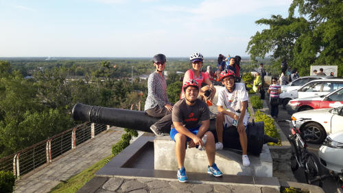 At the top of Bukit Malawati with Annie, Shushan & Brian