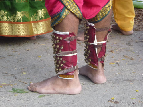 The bigger the burden, the more ornate the costume, often with ankle bells