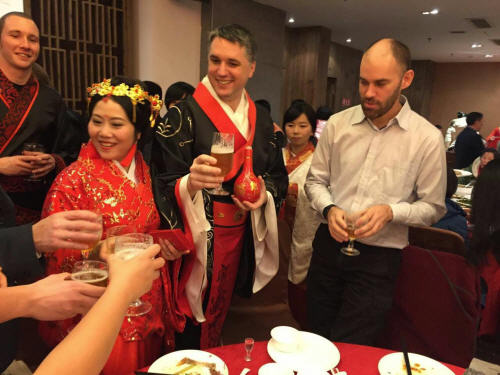 Partway through the round of toasts it appears that Duncan swapped his flask of special baiju for some ale