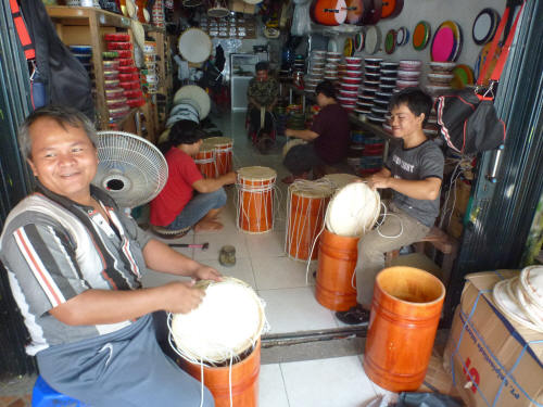 Making drums at Pasar Ikan.