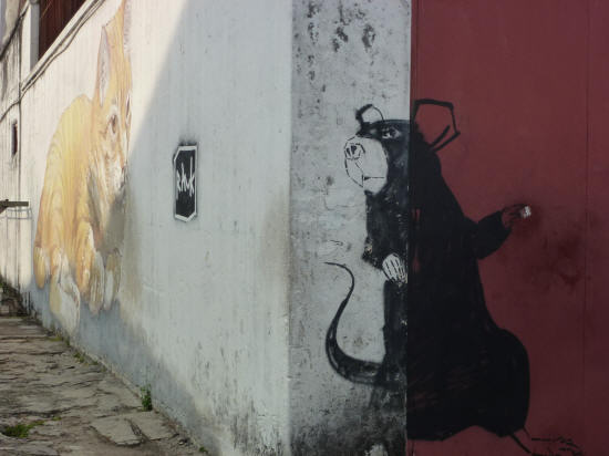 Beautiful street art in George Town - we took a photo of Tamar by the cat last year, but we hadn't spotted the rat just hiding around the corner ... I don't think the cat has either