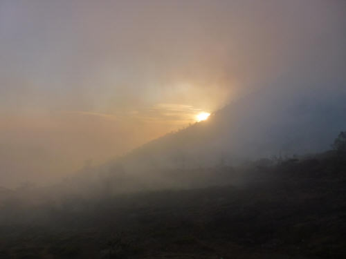 Sunrise through the sulphur smoke.