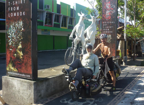 Cows on a tandem outside an art shop in Mataram, Lombok.